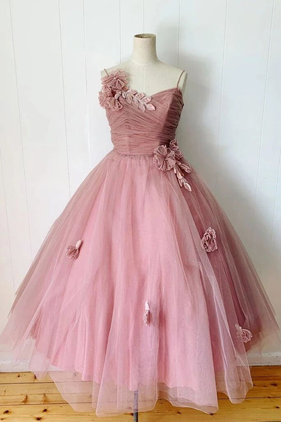 Pink Spaghetti Straps Tulle Tea Length Prom Dress Bridesmaid Dress PFP1594