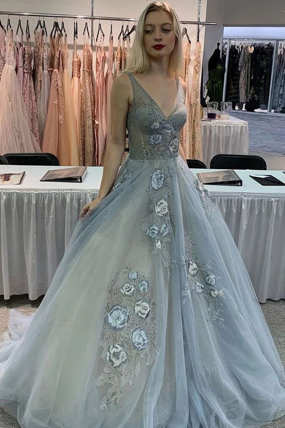 Gray V Neck Tulle Lace Appliques Long Prom Dress Formal Evening Dress PFP1595