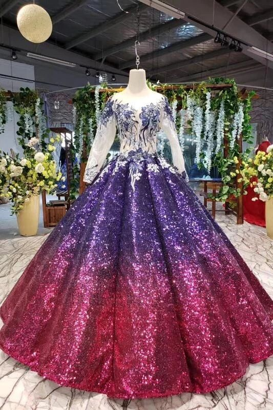 Ball Gown Long Sleeves Sequins Ombre Prom Dress, Pretty Quinceanera Dress PFP1596