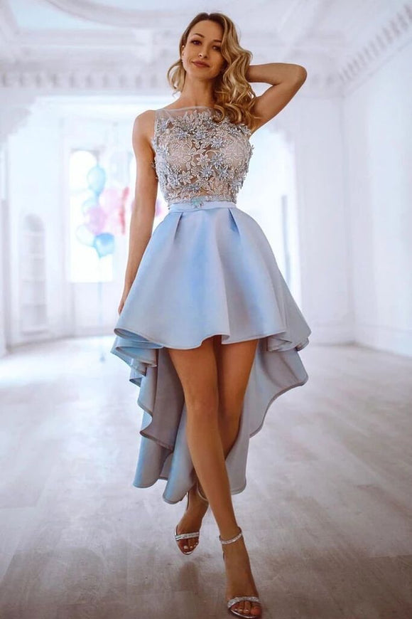 Gray Lace Appliques Off Shoulder Satin Long Prom Dress With Pockets Evening Dress PFP1598
