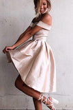 Simple A-Line Off the Shoulder High Low Satin Sleeveless Homecoming Dress PFH0036