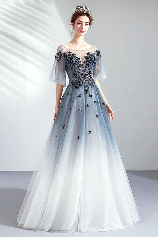 Ombre A Line Half Sleeves Tulle Round Neck Prom Dress Evening Dresses PFP1607