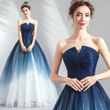 Strapless Ombre A Line Tulle Prom Dress Long Formal Dresses PFP1608