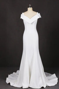 Mermaid V Neck Off White Simple Wedding Dress, Long Bridal Dresses PFW0422