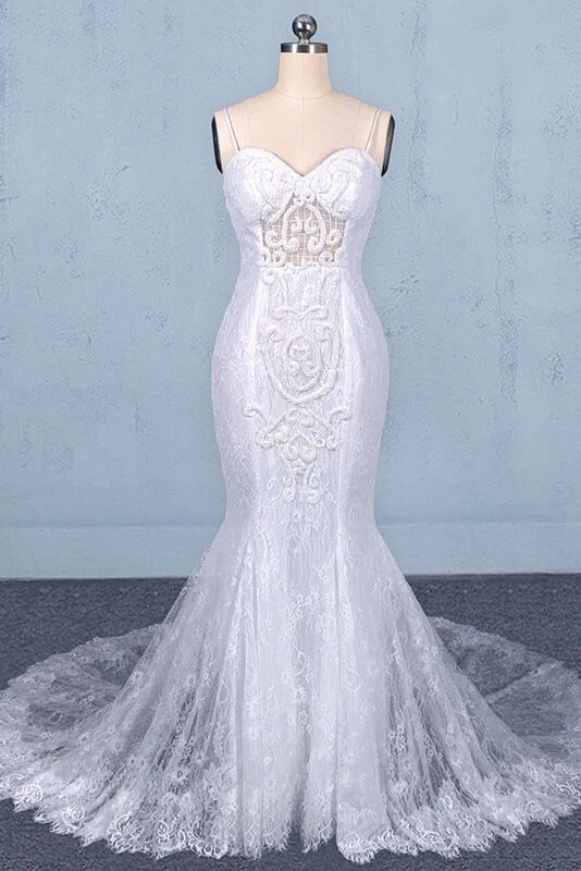 Mermaid Spaghetti Straps Lace Wedding Dress, Fashion Long Bridal Dresses PFW0423