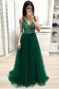 Fashion A Line V Neck Beading Prom Dresses, Long Tulle Green Prom Dress