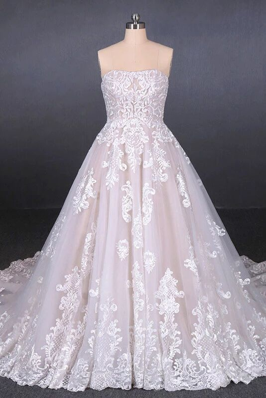 A Line Strapless Lace Appliques Wedding Dress, Cheap Bridal Dresses PFW0424