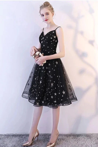 Promfast Black Spaghetti Straps V Neck Tulle Graduation Dress with Stars, Glitter Homecoming Dress PFH0303