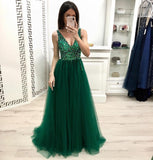 Fashion A Line V Neck Beading Prom Dresses, Long Tulle Green Prom Dress PFP0543