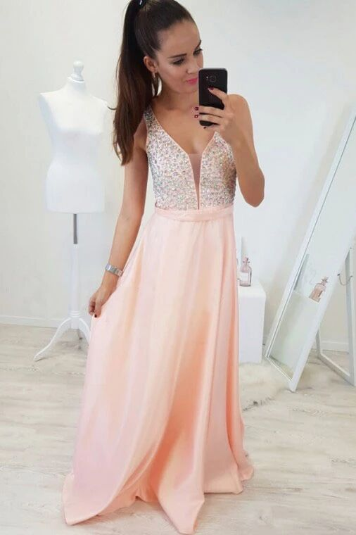 A-Line V-Neck Floor-Length Pearl Pink Prom Dress with Beading PFP1632