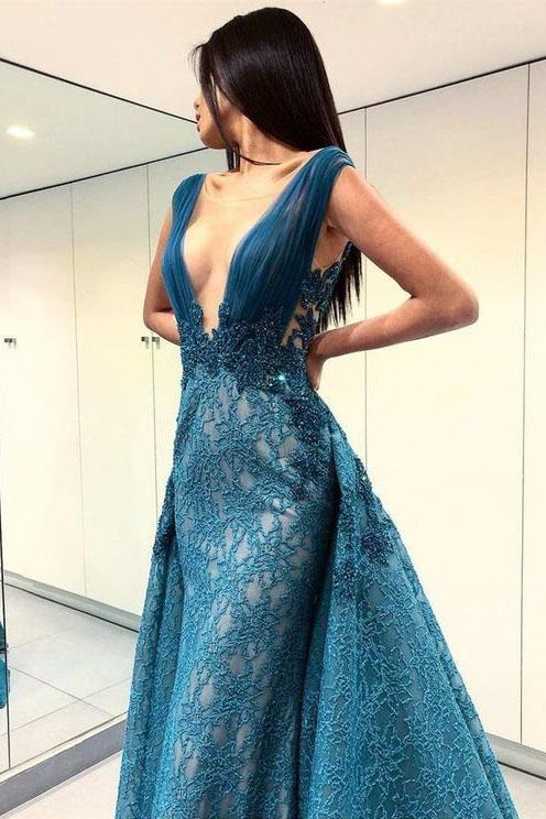 A-Line Deep V-Neck Lace Blue Floor Length Prom Dresses PFP0072