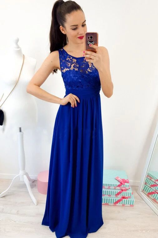 A-Line Round Neck Floor-Length Royal Blue Prom Dress with Lace Pleats PFP1634