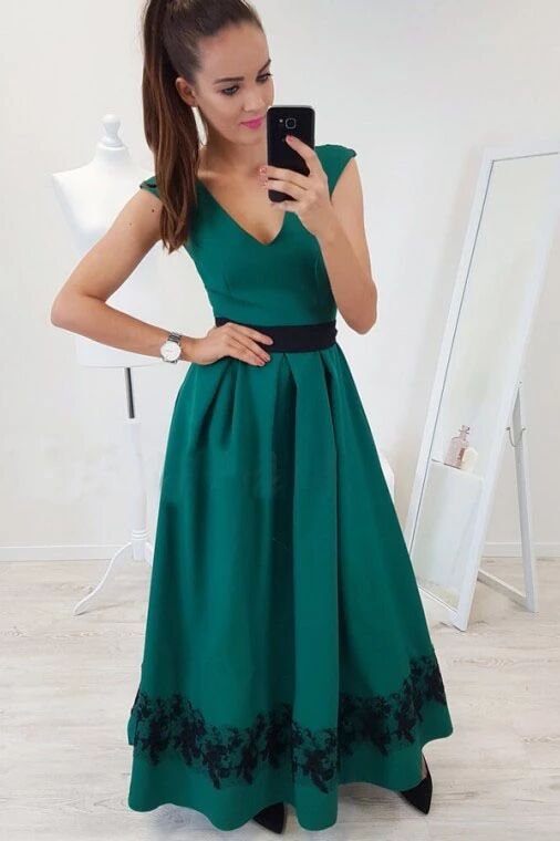 A-Line V-Neck Cap Sleeves Floor-Length Dark Green Prom Dress with Lace Pleats PFP1635