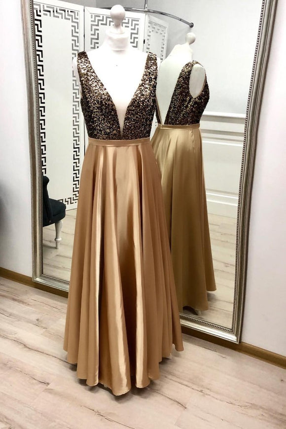 Charming A Line V Neck Gold Prom Dresses, Beaded Long Prom Dress
