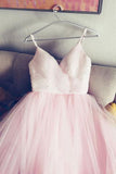 simple spaghetti straps v neck tulle pink prom/evening dress, pink tulle bridal dress PFW0245