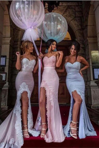 Pastel Coloured Sweetheart Mermaid Bridesmaid Dresses with Lace Appliques PFB0131