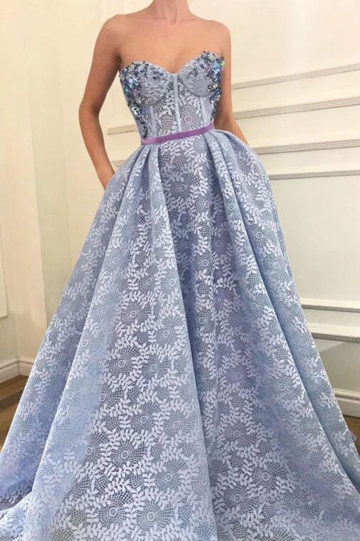 Stunning A-Line Sweetheart Light Blue Lace Prom Dress with Pockets Beading PFP1642