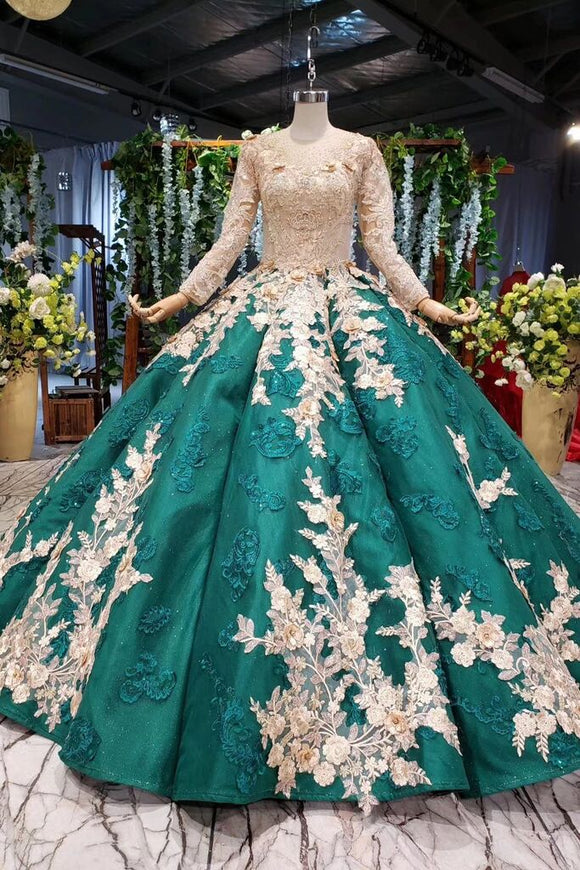 Long Sleeve Ball Gown Wedding Dress Appliques Beading Quinceanera Dresses PFP1645