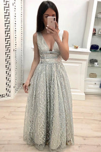 A Line V Neck Lace Prom Dresses, Cheap Long Evening Dress