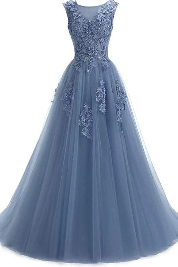 A Line Round Neck Lace Appliques Floor Length Prom Dresses PFP1646