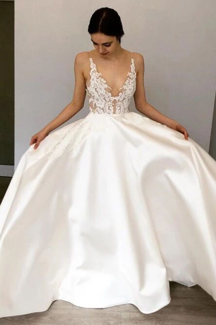 A-Line Deep V-Neck Floor-Length Satin Wedding Dress with Lace Appliques PFW0428