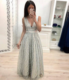 A Line V Neck Lace Prom Dresses, Cheap Long Evening Dress PFP0547