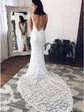 Mermaid V-Neck Backless Court Train Lace Wedding Dress with Split PFW0432