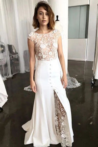 Sheath Bateau Cap Sleeves Sweep Train Lace Wedding Dress with Split PFW0434