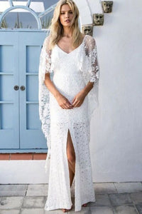 Sheath V-Neck Backless Wraps Lace Beach Wedding Dress with Split PFW0436