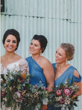 Sheath V-Neck Cold Shoulder Floor-Length Blue Ruched Bridesmaid Dress PFB0132