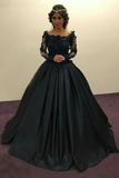 Promfast Ball Gown Long Sleeves Navy Blue With Lace Prom Dress, Quinceanera Dresses PFM0008