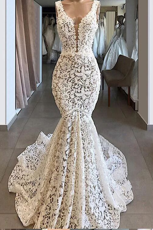 Trumpet/Mermaid V neck Ivory Lace Long Prom Dresses Evening Dresses PFP1649