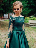 A Line Long Sleeves Dark Green Satin Appliques Prom Dresses Evening Dress PFP1653