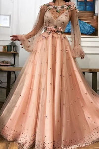 A line Long Sleeves Prom Dresses 3D Flowers Prom Dress Formal Evening Dress PFP1655