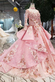 New Arrival Pink Prom Dresses Long Sleeves Ball Gown High Neck Quinceanera