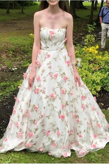 A Line Floral Long Prom Dresses Strapless Beautiful Flower Printed Prom Dress PFP1656