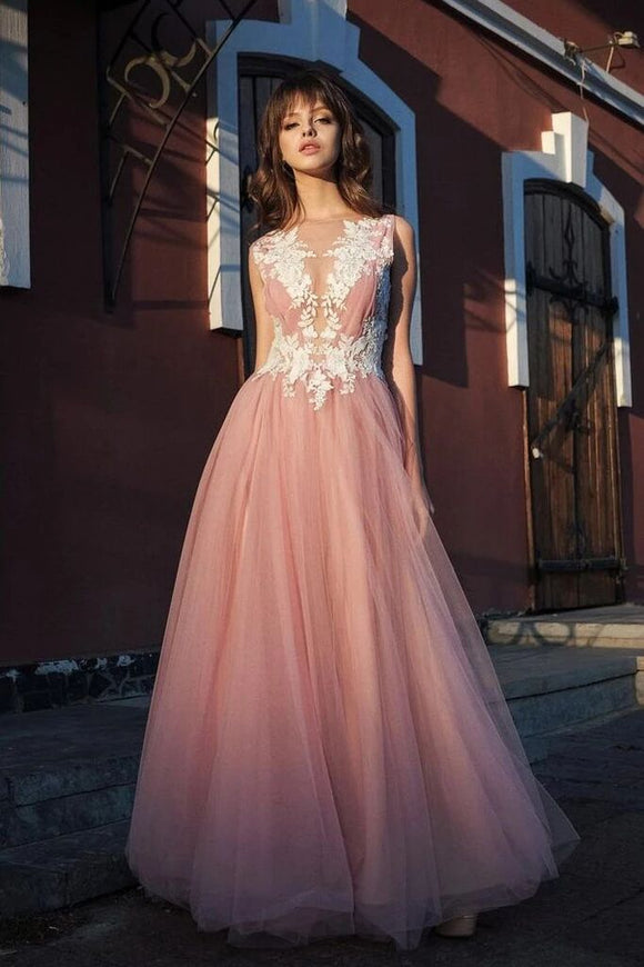 A-line Bateau Pink Tulle Long Prom Dresses Applique Formal Gowns PFP1657