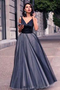 Charming V Neck Sleeveless Spaghetti Straps Navy Blue Ball Gown Prom Dress PFP0018