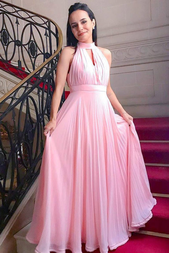 Pink Chiffon High Neck Simple Prom Dresses, Graduation Dresses