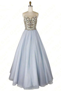 A-line Sweetheart Beaded Light Blue Long Prom Dresses Unique Formal Gowns PFP1659