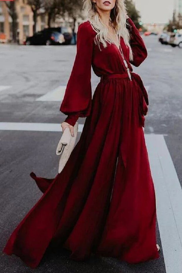 A-line Burgundy Long Prom Dresses Long Sleeve Simple Cheap Evening Dress PFP1660