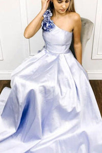 A-line One Shoulder Satin Long Prom Dress With Flowers Evening Dresses PFP1664