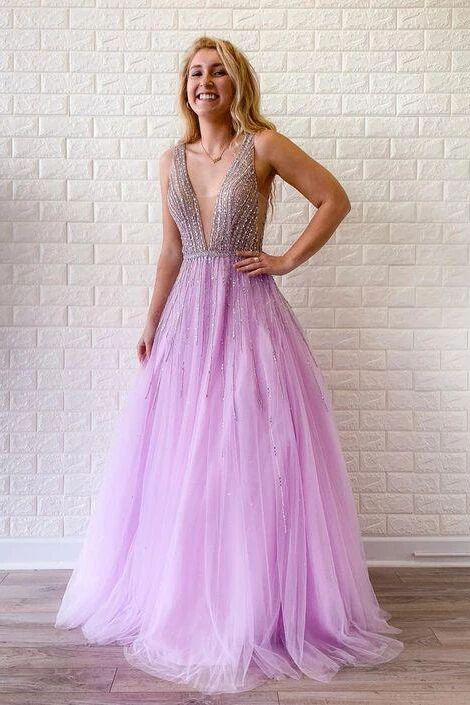 A-line V Neck Lilac Long Prom Dresses Tulle Beaded Evening Gowns PFP1668