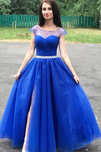 A-line Cap Sleeves Royal Blue Long Prom Dresses Beaded Evening Dresses PFP1669