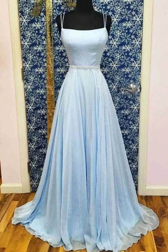 A-line Spaghetti Straps Light Sky Blue Long Simple Prom Dresses Evening Gowns PFP1670