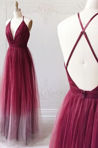 A-line Spaghetti Straps Ombre Long Tulle Prom Dresses Party Dresses PFP1673
