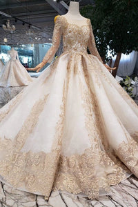 New Arrival Prom Dresses Long Sleeves Ball Gown Scoop With Applique Beads Lace Up Back