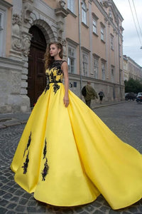A-line Bateau Yellow Lace Appliques Ball Gown Prom Dresses Quinceanera Formal Dress PFP1675