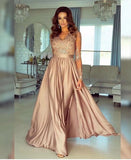A-line V neck Long Sleeves Prom Dresses Lace Appliques Formal Gowns PFP1676