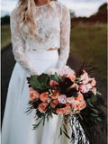 Two Piece Long Sleeves Chiffon Beach Wedding Dress With Lace PFW0439
